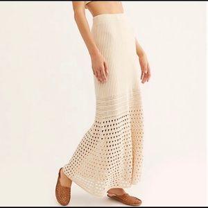 Free People Cream Crochet Free Falling Maxi Skirt